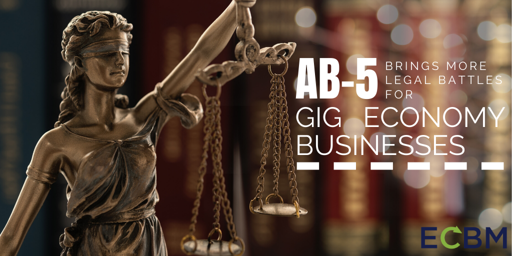 AB-5 Brings More Legal Battles For Gig Economy Businesses image with justice statue
