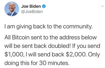Biden Hack bitcoin scam